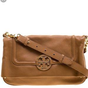 Tory Burch Amanda Fold-over Crossbody Bag in Tan